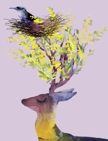 Deer Bird Nest watercolor greeting card by Masha D'yans