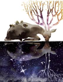 Deer Tree Reflection Masha Dyans A6 card