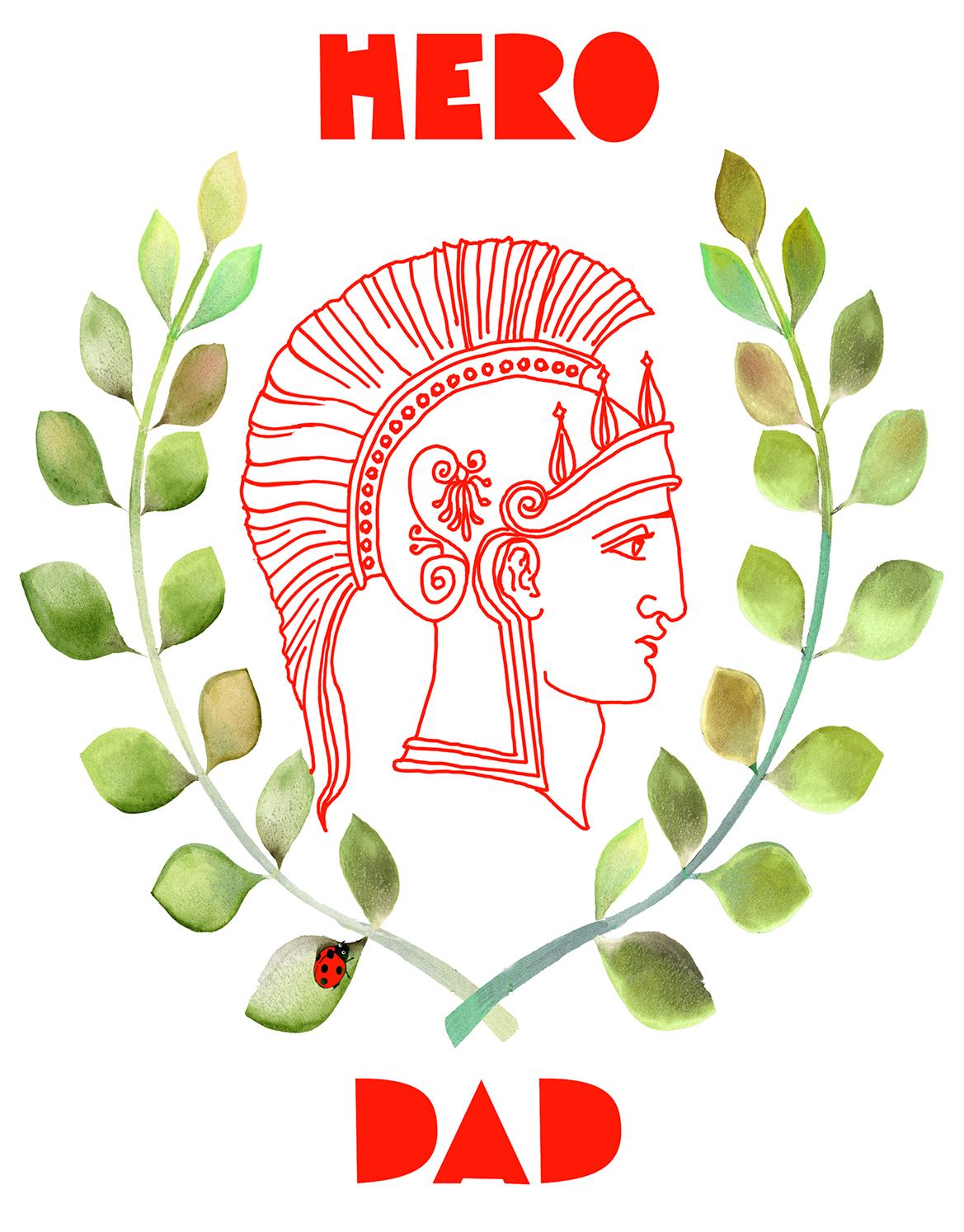 greek helmet profile hero dad greeting card by masha dyans