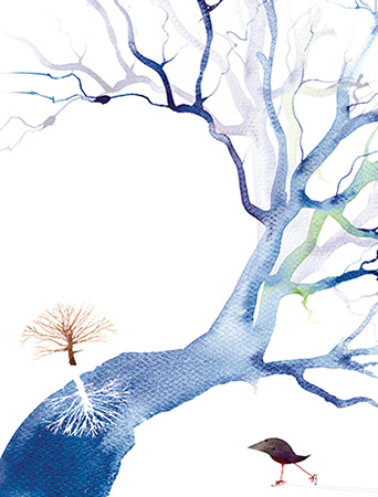 River Tree February Bird watercolor greeting card by Masha D'yans