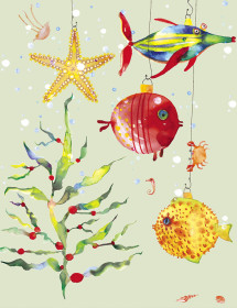 XMS Fish Ornaments watercolor greeting card by Masha D'yans