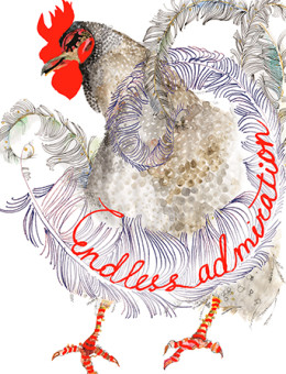 Admiration Rooster is very elegant indeed striking a pose of classy reverence to your recipient. Dispatch this Masha D'yans watercolor and neon greeting card post haste for any occasion.