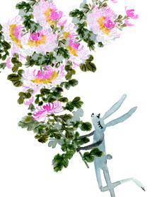 G101-bunny+chry-watercolor-masha-dyans