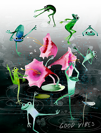 Good Vibe Frogs all occasion watercolor greeting card by Masha D'yans