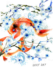 Cherry Blossom Koi love, congrats and all occasion watercolor greeting card by Masha D'yans