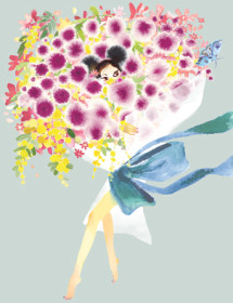 Bouquet Outfit watercolor greeting card by Masha D'yans