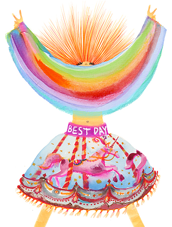 Best Day Look watercolor greeting card by Masha D'yans