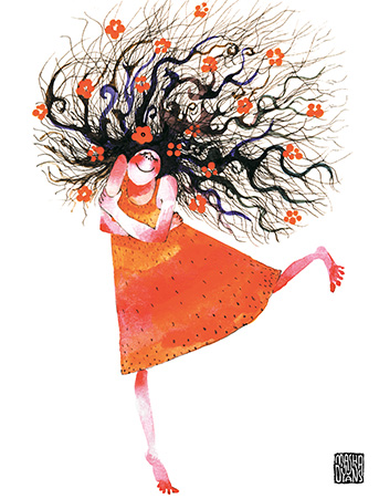 G17 curly hair girl self hug red dress watercolor greeting card