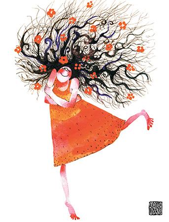 G17 curly hair girl self hug red dress watercolor greeting card