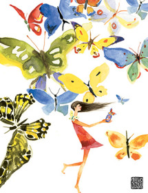 G22 butterflies girl jar masha dyans watercolor greeting card