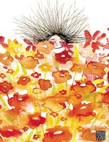 G25 Flower Field Face peeking orange flowers masha dyans watercolor greeting card
