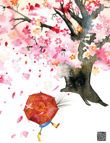 G26 bloom tree umbrella spring pink masha dyans watercolor greeting card