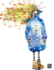 G32 winter jacket summer hair girl masha dyans watercolor greeting card