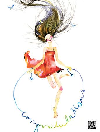 G33 congrats jump rope girl masha dyans watercolor greeting card