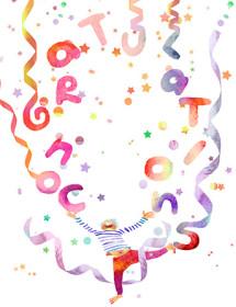 G34 congrats juggle masha dyans watercolor greeting card