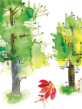 G35 summer trees masha dyans watercolor greeting card