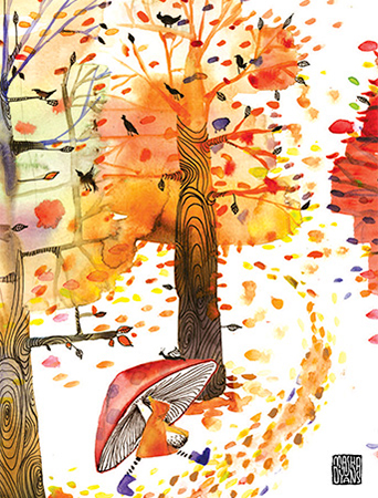 fall trees mushroom umbrella walk watercolor Masha Dyans greeting card