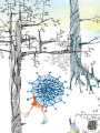winter trees snowflake umbrella walk Masha Dyans watercolor greeting card