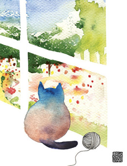 G38 window cat garden yarn miss you masha dyans watercolor greeting card