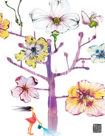 G39 flower tree watering masha dyans watercolor greeting card