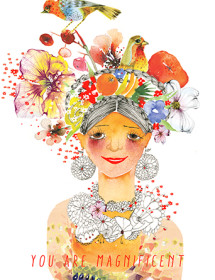 G40 frida flowers birds fruit hair dress girl masha-dyans