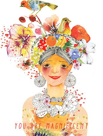 G40 frida flowers birds fruit hair dress girl masha-dyans