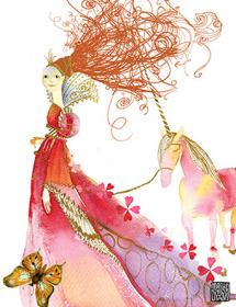 G42 walking princess unicorn red hair masha dyans watercolor greeting card
