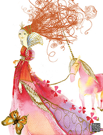 G42 walking princess unicorn red hair masha dyans watercolor greeting card