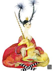G43 seated princess unicorns braids masha dyans watercolor greeting card