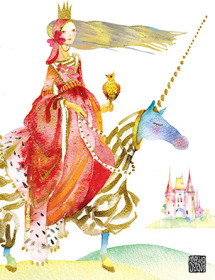 Unicorn Ride Princess G44 horseback blonde masha dyans watercolor greeting card