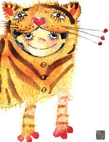 G45 tiger costume kid masha dyans watercolor greeting card