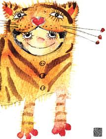 G45 tiger costume kid masha dyans watercolor greeting card