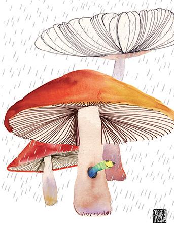G46 mushroom worm rain masha dyans watercolor greeting card
