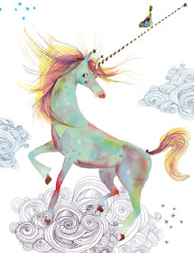 G48 unicorn bird masha dyans watercolor greeting card