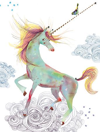 G48 unicorn bird masha dyans watercolor greeting card