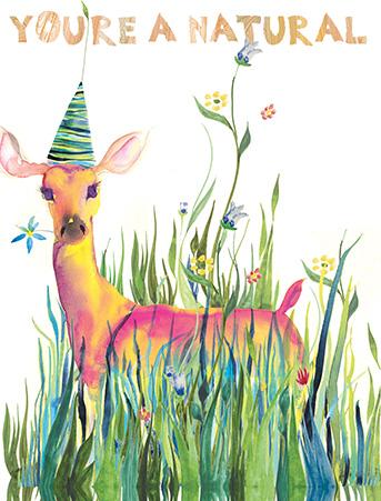 G49 grass deer natural masha dyans watercolor greeting card