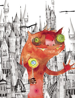 Castle monster lollipop watercolor greeting card by Masha D'yans.