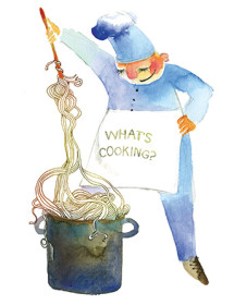 G52 pasta chef masha dyans watercolor greeting card