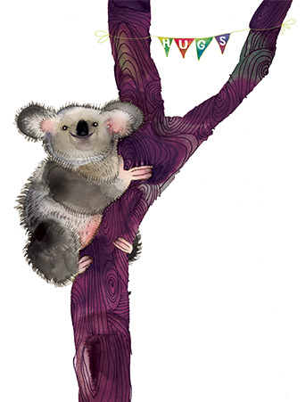Koala hugs tree watercolor greeting card by Masha D'yans.
