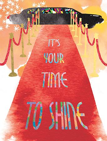 G57 red carpet shine masha dyans watercolor greeting card