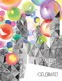 G58 balloon town celebrate masha dyans watercolor greeting card