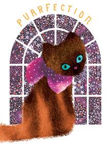 cat stars window masha dyans watercolor greeting card