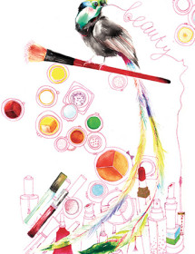 G63 bird cosmetics galina sokolova watercolor greeting card