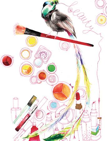 G63 bird cosmetics galina sokolova watercolor greeting card
