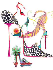 G64 cat heels fashion watercolor greeting card galina sokolova