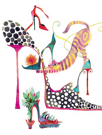 G64 cat heels fashion watercolor greeting card galina sokolova