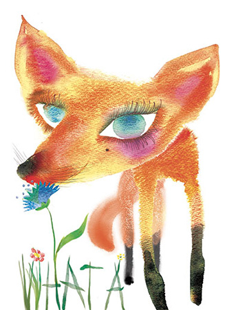 G65 fox masha dyans watercolor greeting card