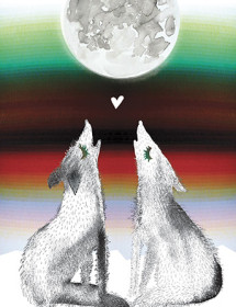 Coyotes couple serape stripes moon howl watercolor greeting card by Masha D'yans.