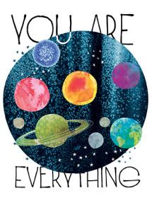 cosmos sky planets blue watercolor greeting card Masha D'yans