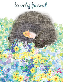 cat and bear flower field watercolor masha dyans